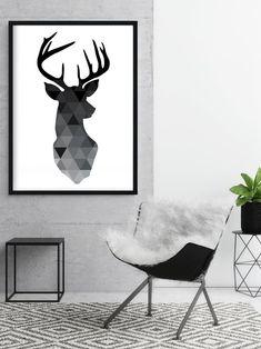 Black Deer Poster Deer Head Art Geometric Deer Print   Etsy Black Deer, Black White Art, Modern Prints, Modern Art, Geometric Deer, Deer Print, Mid Century Art, Abstract Shapes, Triptych