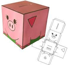 piggy bank money boxes - print on card, cut out and paint :) Toy Story Crafts, Pig Crafts, Preschool Crafts, Crafts For Kids, Paper Crafts, Art Template, Templates Printable Free, Piggy Bank Craft, Police Crafts