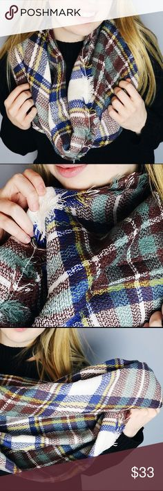 """Camel Plaid Blanket Scarf Multi-colored plaid blanket scarf  - Material: Acrylic - Size: 58"""" x 58"""" Accessories Scarves & Wraps"""
