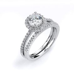1 Carat Single Round Halo Engagement Ring with Matching Band Set