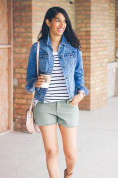 stripe tee, denim jacket, casual summer style @oldnavy