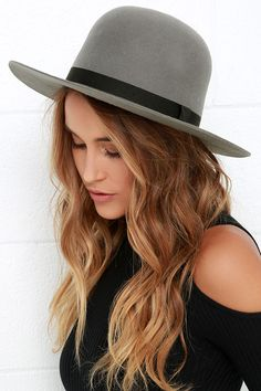 """Take the high road, or at least look the part, in the sophisticated Brixton Colton Grey Hat! Grey felted wool shapes a rounded hat with a structured 3"""" brim, decorated by a black grosgrain ribbon. 22"""" interior circumference."""