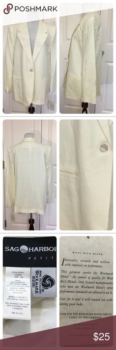 NWT!  Sag Harbor wool blazer New with tags!  Classic Sag Harbor wool blazer. Color is vanilla - off white. Alfred Dunner Jackets & Coats Blazers