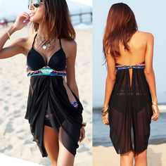 Super Cute! Love this Suit! Black Plain 2-in-1 Swallowtail Style Sexy Swimwear #Sexy #Black #Swimsuit #Fashion #Beach #CoverUps