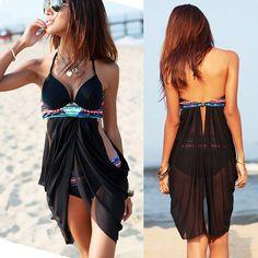 Black Plain 2-in-1 Swallowtail Style Sexy Swimwear - Vests - Tops