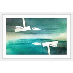 """ParvezTaj Fishing Boats' by Parvez Taj Framed Painting Print Size: 30"""" H x 45"""" W x 1.5"""" D"""
