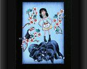 dog collage black lab girl child pet blue art tagt team teenagers custom children