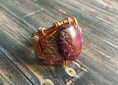 Size 7, Purple Sea Sediment Jasper Semi Precious Stone Ring Wrapped in Copper Wire, Metaphysical Jewelry by TheeEnchantedChest on Etsy https://www.etsy.com/listing/279314076/size-7-purple-sea-sediment-jasper-semi
