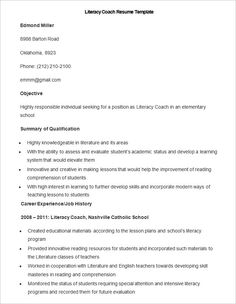 Sample Literacy Coach Resume Template , How To Make A Good Teacher Resume  Template , There  Beginner Acting Resume