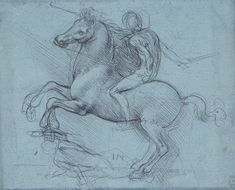 Recto: A study for an equestrian monument. Verso: Studies of flowing water, a cross-bow, geometry, etc. | Royal Collection Trust