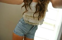 Lace top, and high waisted shorts <3