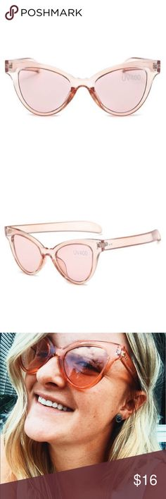 Cecelia Cat-eye Rose Sunglasses Translucent Pink UV protected, tagged for exposure. Adorable Millenial Pink shade super trendy. Free People Accessories Sunglasses
