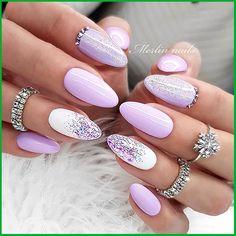 Almond Acrylic Nails, Almond Nails, Acrylic Nail Designs, Nail Art Designs, Nails Design, Cute Nails, Pretty Nails, Sharp Nails, Glitter Gel