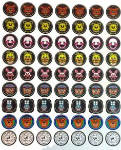 Five Nights at Freddy's 1 inch round sticker sheet by NYpartyshop