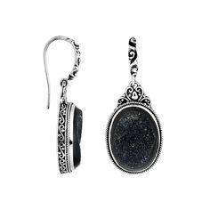 Handmade Sterling Silver Druzy Oval Dangle Earrings