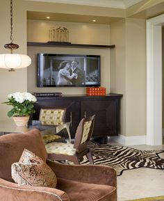 stylish recessed TV alcove TRUMP TOWER - Residential interior NYC - Shields Interiors
