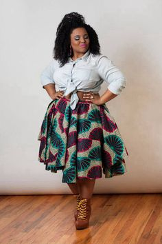 Tied up oxford shirt with A-line African inspired skirt #curvy