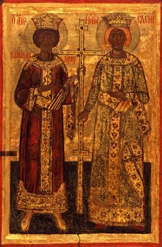 St Constantine and Helen c.) from The Holy Monastery of Aghiou Pavlou St Constantine, Orthodox Catholic, Isaiah 25, Archangel Raphael, Raphael Angel, Jesus Painting, Byzantine Art, Orthodox Icons, Renaissance Art
