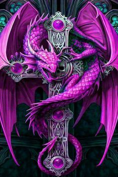 # PURPLE DRAGON ON A CELTIC CROSS ANNE STOKES
