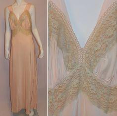 vintage 1940s Rhythm Lingerie long slip pink Deco bias cut rayon gown 36 Pencil Test, Long Slip, Formal Dresses, Wedding Dresses, Midi Dresses, 1940s Fashion, Vintage Lingerie, Night Gown, Vintage Dresses