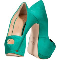 Giuseppe Zanotti Mint Green Suede Peep Toe Pumps ❤ liked on Polyvore featuring shoes, pumps, heels, sapatos, giuseppe zanotti, peep toe shoes, mint pumps, mint green heels shoes and suede shoes