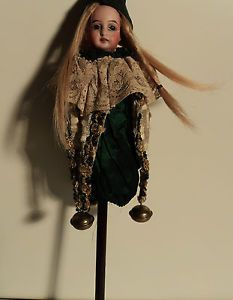 """Antique French or German 14"""" Bisque head Marotte Doll Jester"""