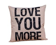 LeiOh Home Decor Cotton Linen Square LOVE YOU MORE Pattern Throw Pillow Case Sofa Cushion Cover 18 x 18Christmas Gifts for Mom *** Details can be found by clicking on the image. Note: It's an affiliate link to Amazon
