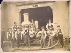 Group photo of Fire Company No. 16 with steam engine. (1875) Missouri History Museum