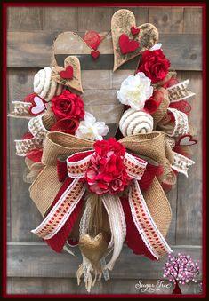 Valentine Day Wreaths, Valentines Day Decorations, Valentine Crafts, Holiday Wreaths, Valentine Ideas, Valentine Colors, Valentine Tree, Winter Wreaths, Holiday Crafts