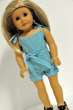 American Girl Doll Clothes Cute Turquoise Romper by CircleCSewing
