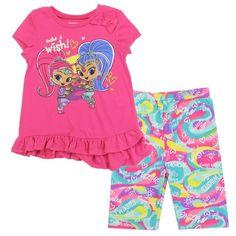 Nickelodeon Girls 2 Piece Shimmer and Shine Pom Pom Short Set