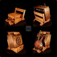 Mahogany Low Rider Atlas Amp Stand with Flip Out Guitar Stand