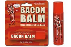 Bacon Lip Balm  It's bacon for your face! Keep your lips soft, smooth, and....bacon flavoured!  A great gift for bacon lovers and lip balm enthusiasts.  Creates delectable bacon-flavoured kisses.  Use daily for soft, healthy lips and to beat those bacon cravings.  $3.99