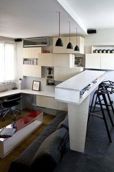 Outstanding 16 Square Meter Studio Apartment  couch by day - bed at night (under podest) even step is storage room  Bett ist tagsüber Sofa und kann dann unterm podest herausgezogen werden