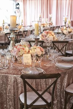 Rustic Centerpiece on Dusty Rose Sequined Linen | Photography: Kingensmith. Read More: http://www.insideweddings.com/weddings/luxurious-summer-tent-wedding-on-lake-michigan-in-chicago-illinois/671/