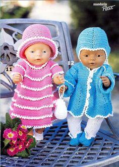 Billede: Crochet Doll Clothes, Crochet Dolls, Crochet Hats, Doll Patterns, Crochet Patterns, Baby Born Clothes, Bear Doll, Baby Dolls, Knitting