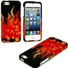 Amazon.com: myLife (TM) Red + Yellow Bubbles and Flames Series (2 Piece Snap On) Hardshell Plates Case for the iPhone 5/5S (5G) 5th Generati...