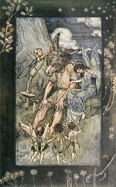 Arthur Rackham - Where is Pease-Blossom? A Midsummer-Night's Dream - Tales From Shakespeare by Charles and Mary Lamb, 1909 Arthur Rackham, Ecole Art, Midsummer Nights Dream, Midsummer Night's Dream Fairies, Fairy Art, Children's Book Illustration, Conte, Fantasy Art, Book Art