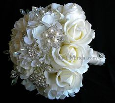 Elegant  Ivory Rose Bridal Bouquet with Real Touch Roses and  Rhinestone and Pearl Brooches - Made to Order