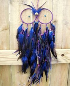 Owl Dream Catcher - Blue and Purple Extra Large Feather Dream Catcher - Night Owl