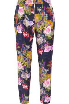 Matthew WilliamsonFloral-Print Silk Pants