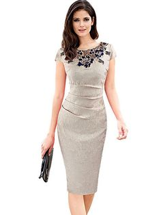 Cheap women dress, Buy Quality party dresses directly from China evening party dress Suppliers: Womens Dress Elegant Vintage Dobby Fabric Hollow Out Embroidered Ruched Pencil Vestidos Bodycon Evening Party Dress Elegant Dresses, Casual Dresses, Fashion Dresses, Trendy Dresses, Bodycon Outfits, Bodycon Dress, Elegant Woman, Business Outfit Frau, Plus Size Dresses