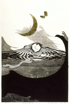 By Reika Iwami. This one is called New moon and sea - C and is at the Art Gallery of NSW -