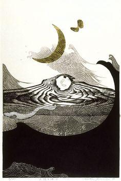 Reika Iwami. New moon and sea