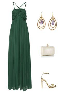 look boda formal vestido verde esmeralda
