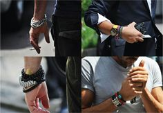 Seriously men have been wearing bracelets for years, like beach boys wear wooden beaded ones, alternative guys wear leather ones and spiritual men wear ones Boys Wear, Menswear, Guys, Leather, How To Wear, Men's Jewelry, Men's Accessories, Photo Ideas, Style