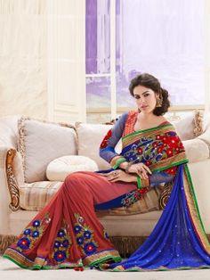 Blue Net Saree With Resham Work www.saree.com