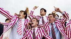 Getting rowdy in striped attire.