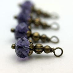 Purple Crystal Rondelle and Brass Bead Dangle by bountyofbeads, $4.50