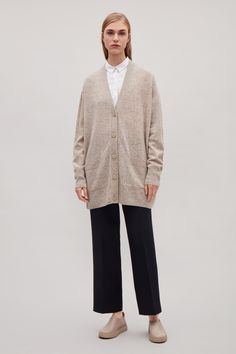 Speckled oversized wool cardigan  - Sand - Knitwear - COS IT